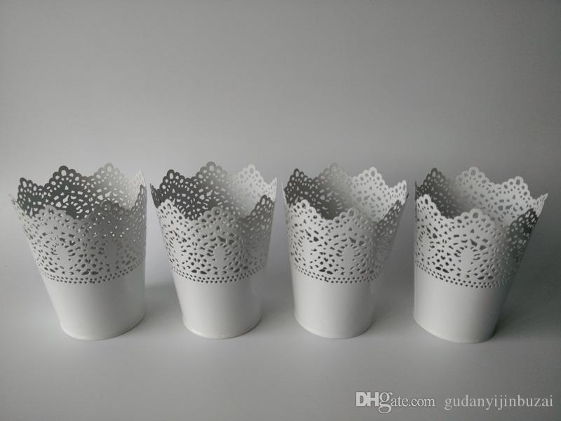 D10xH13CM White Vase small Decorative table centrepieces Metal vase garden bucket tin box Iron pots Wedding Flower tub