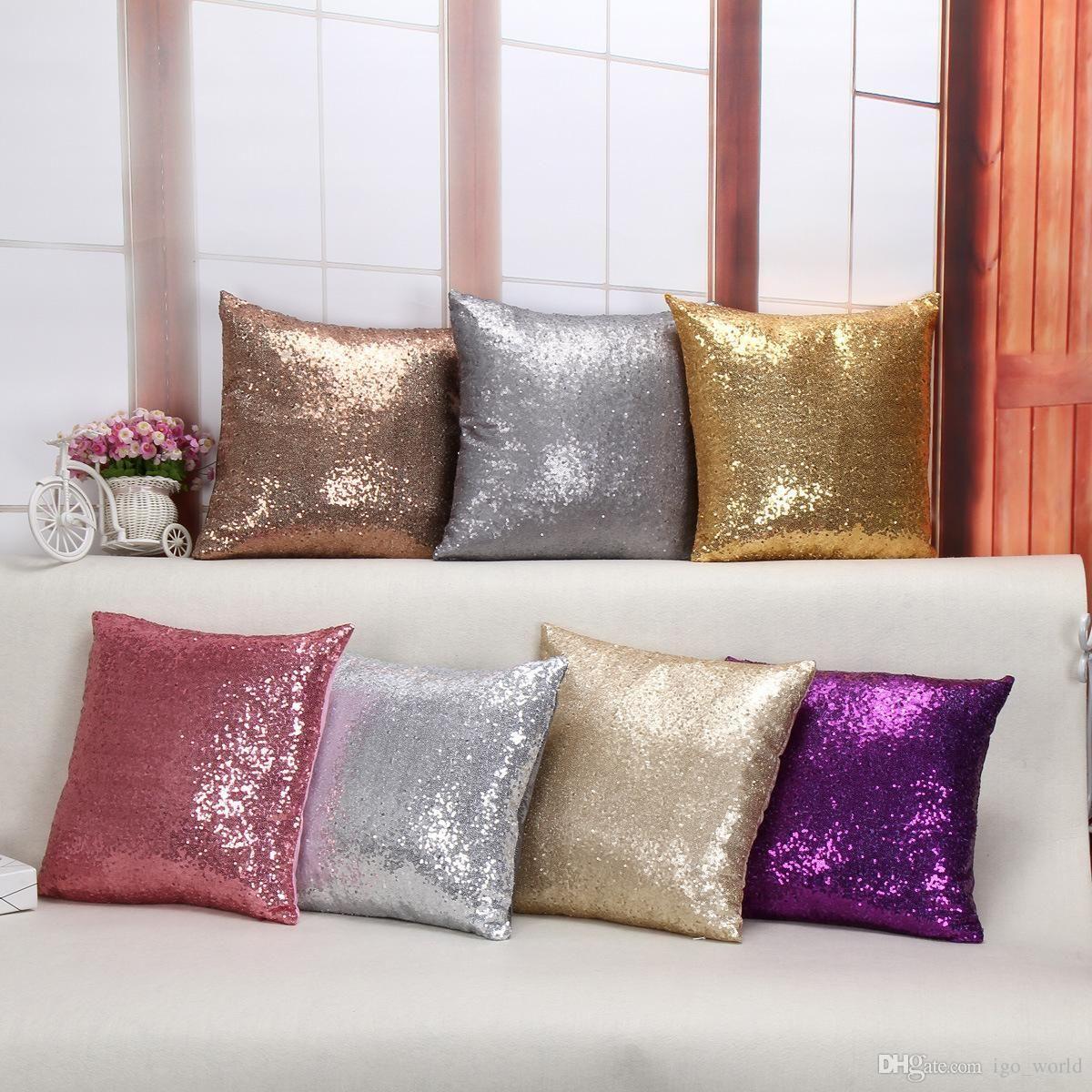 2016 Sequin Cushion Cover 40 40cm Multicolors Solid Color Glitter