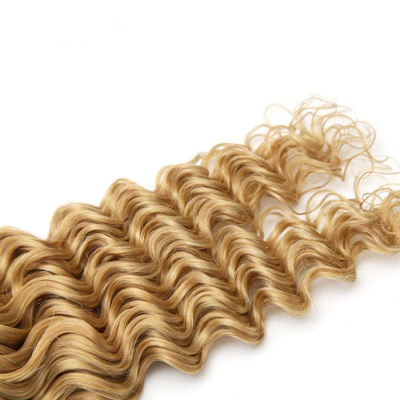 #1B/27 Deep Wave Dark Roots Blonde Hair Wefts Ombre 1B Honey Blonde Two Tone Brazilian Wavy Hair Bundles