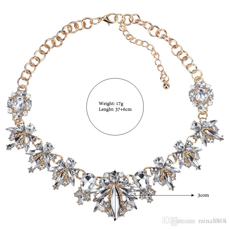 Wholesale Fashion Women Punk Style Alloy Crystal Rhinestone necklace for women silver/gold color floral Chain Necklace Choker