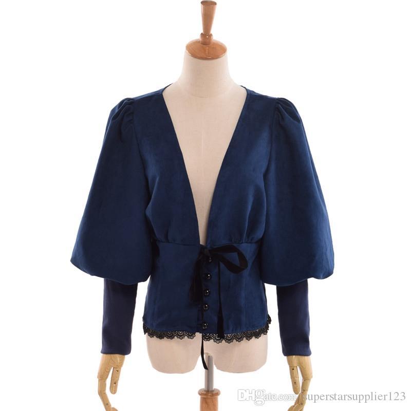 Винтаж стимпанк V-образным вырезом блузка женщины Викторианской Лолита слоеного рукав лук замша рубашки топы синий / коричневый / бордовый