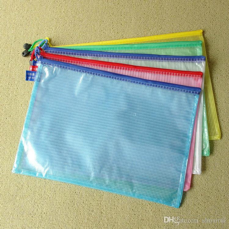 A4 size set zipper cartoon plastic Waterproof Document pocket bill pouch file Pen Filing Pocket Folder Office & School Supplies