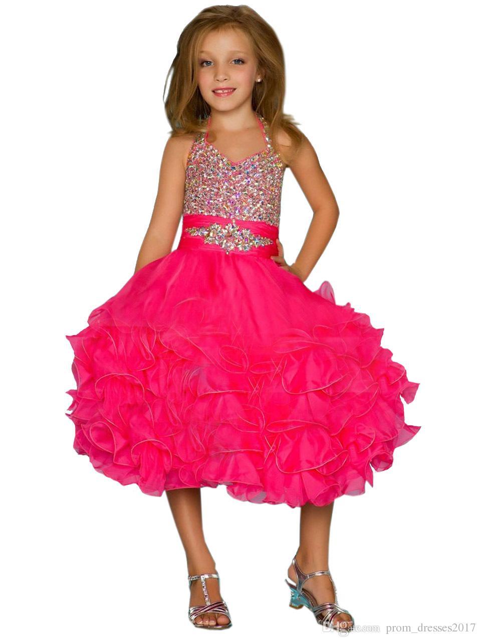 Halter Beading Child Glitz Little Girls Pageant Dresses Organza Cascade Mid-calf Little Girls Short Pageant Dress HY1283