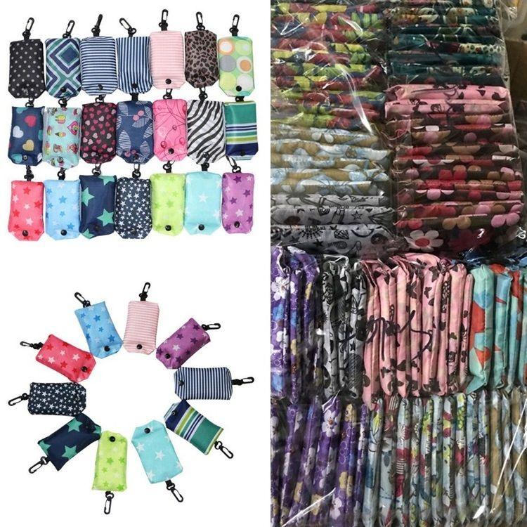 Le plus récent Stockage en nylon pliable Sacs à provisions réutilisables pliants Eco-Friendly Sac Sacs nouvelles dames Sacs de rangement IB002