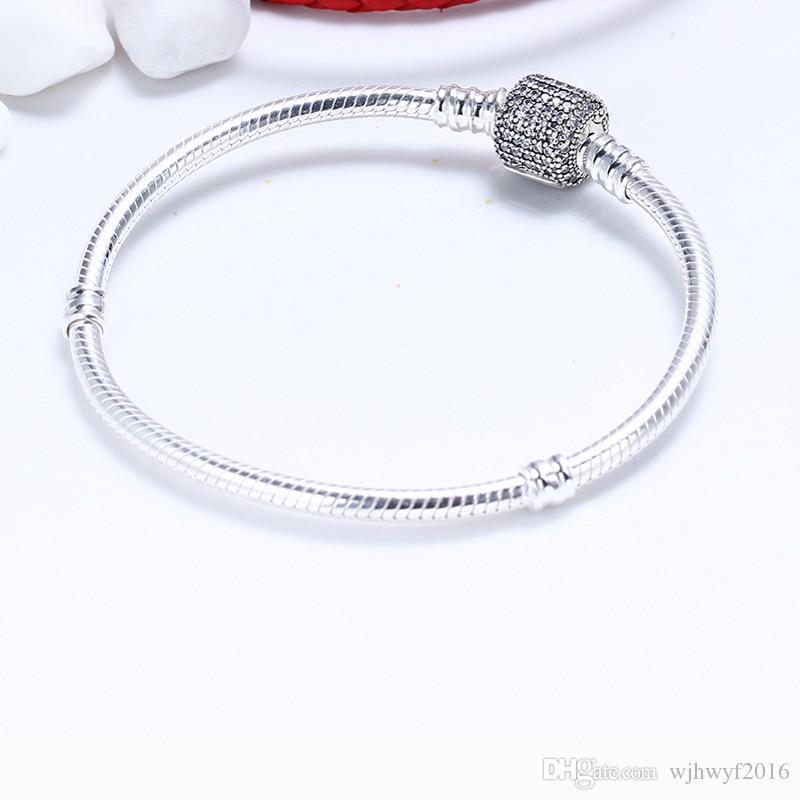Authentische 925 Sterling Silber Snake Charm Armbänder für Frauen mit AAA Zirkonia Micro Pave Clip Verschluss passt europäischen Perlen PD7