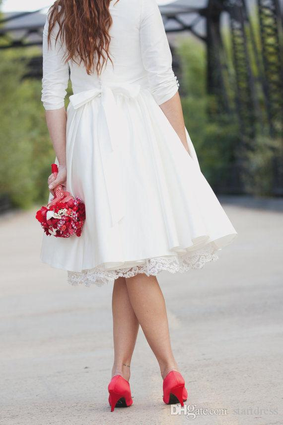 Vintage Short Wedding Dresses Plugging Petite Knee Length Country Wedding Dresses Half Sleeve Beaded Flower Sash Bohemian Wedding Dress Robe