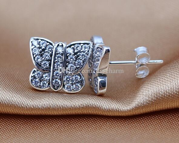 Clear Zircon Butterfly Earring Authentic 925 Sterling Silver Butterfly Stud Earrings For Women Fashion Brand Jewelry Accessories