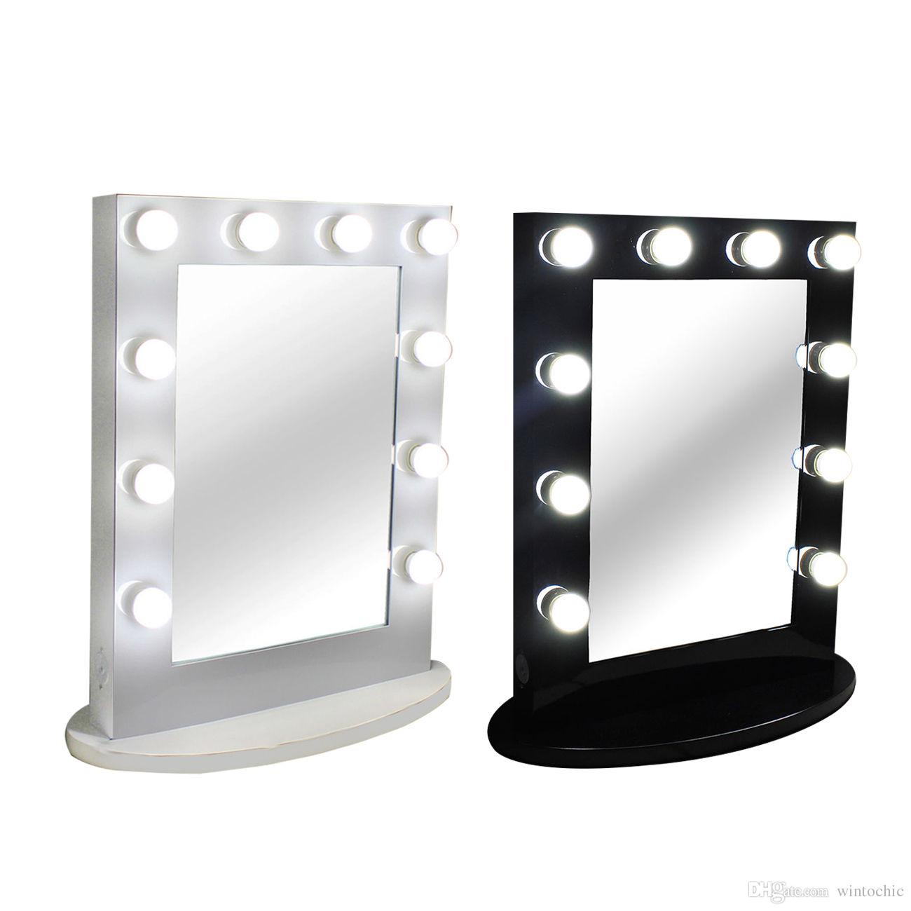 Hollywood Tabletops Makeup Lighted Mirror Vanity Light With Dimmer Aluminum Frame Stage Beauty Free 12 Led Bulbs Mirrors For Bathrooms