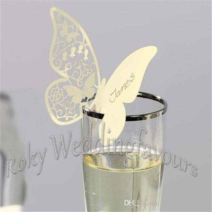 Laser Cut Pearl Paper Place Name Cards Butterfly Wedding Party Supplies Glass Decoration Place Name Card