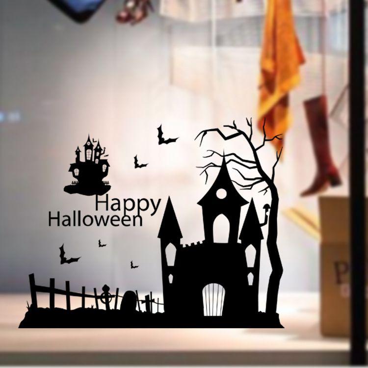 Haunted House Halloween Window Sticker Decals Festival Wall Murals