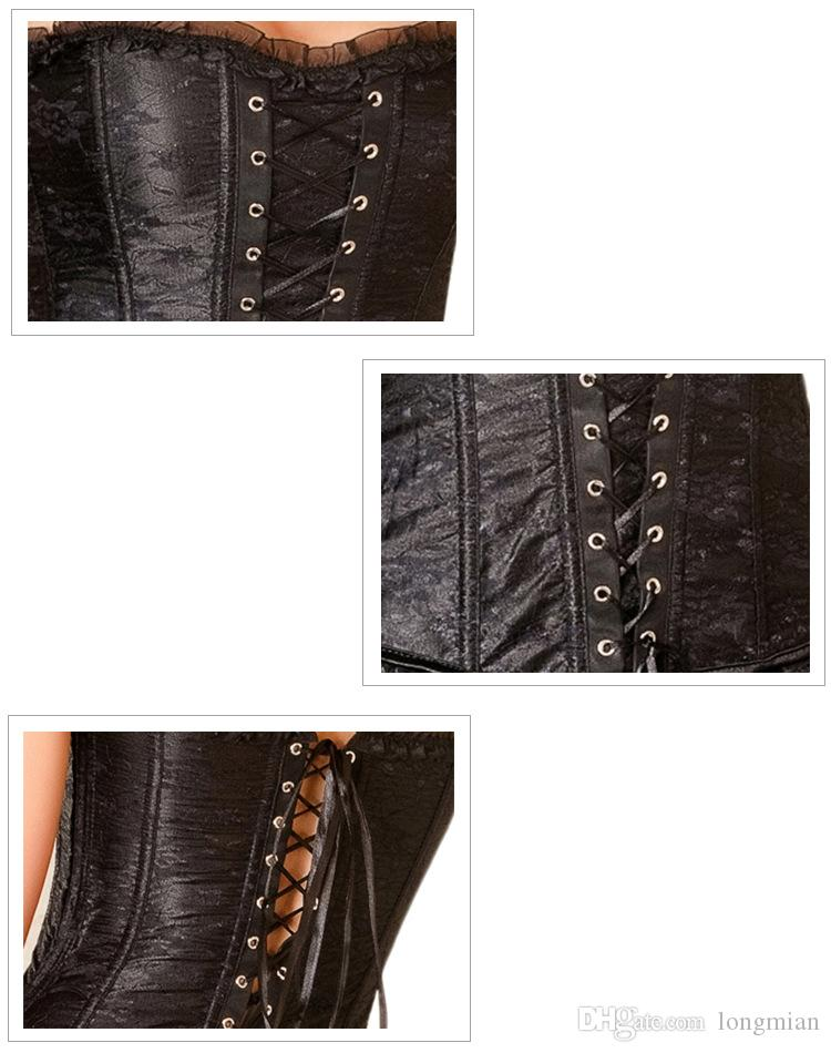 Wholesale-walson instyles free pp2162b Lingerie Blk Lace Satin Gothic Corset Dress