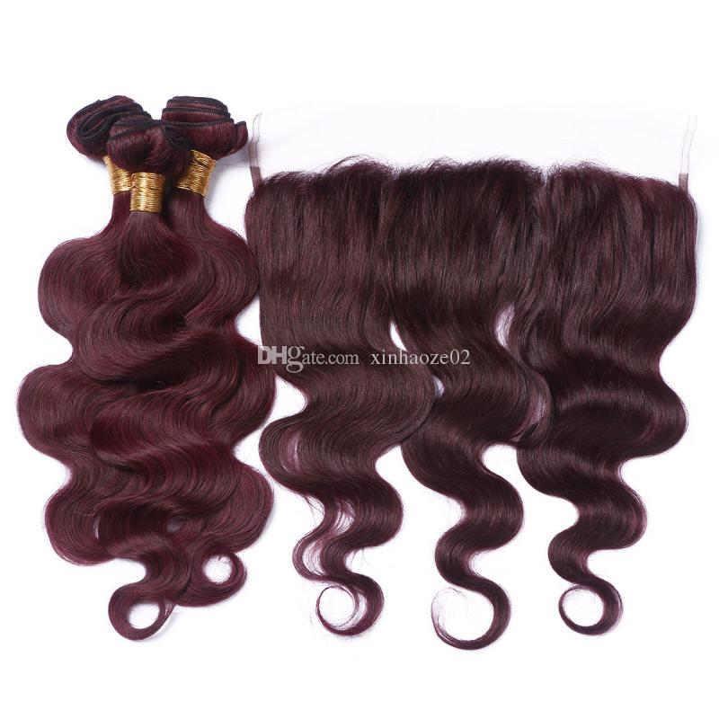 Burgundy Malaysian Virgin Body Wavy 99J Hair Bundles with 13*4'' Lace Frontal with Baby Hair Around for Black Women