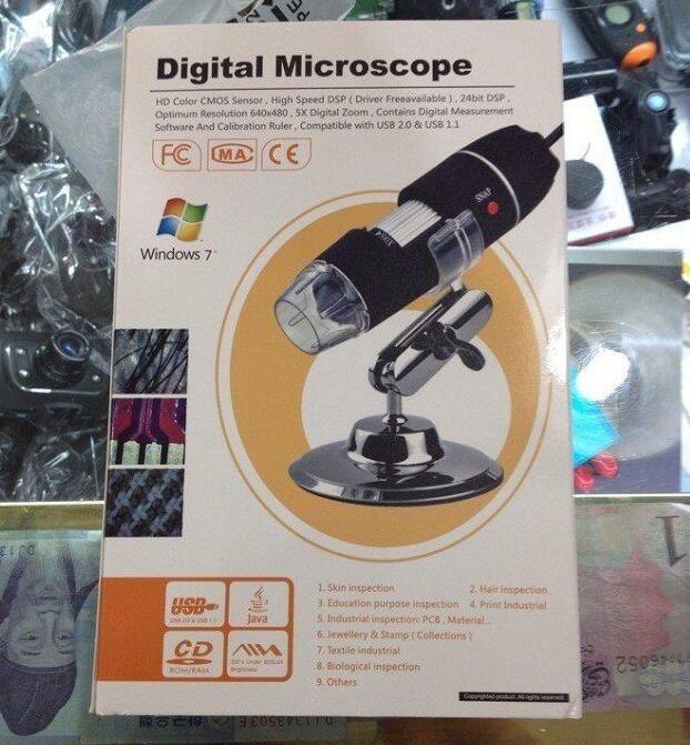 DHL Nuevo 2MP 2 Mega Pixels 800X 8 LED 50X-500X 200X Microscopio USB Digital con 8 LED Endoscopio Lupa Kit de Cámara CMOS