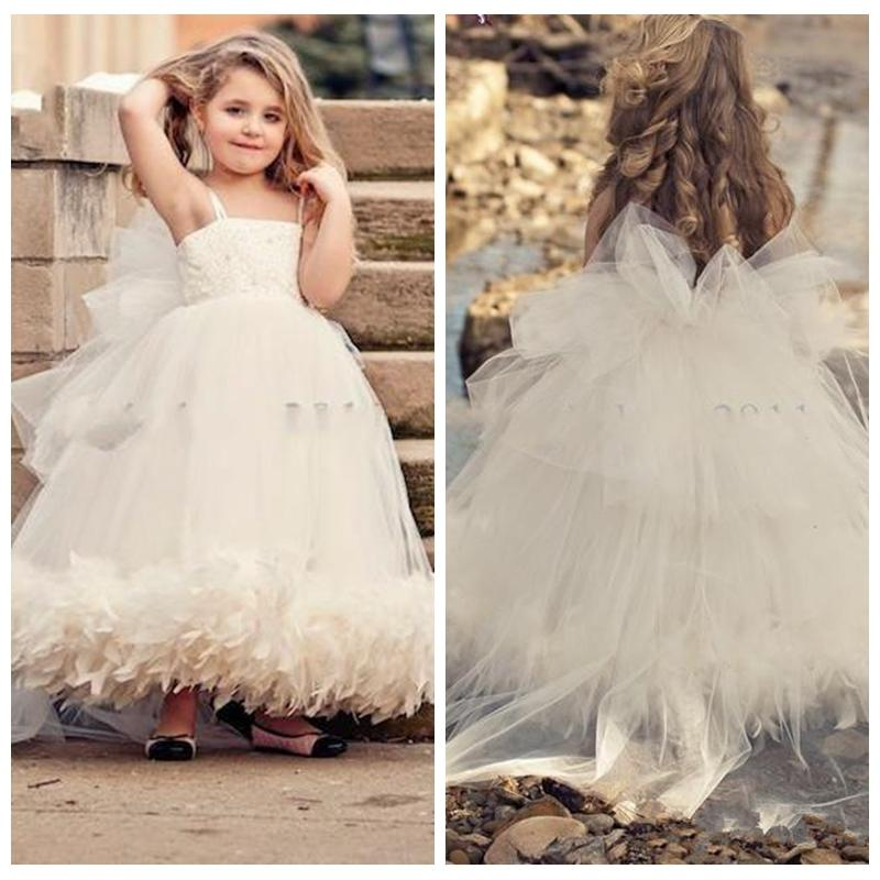 Cute White Dubai Tulle Skirt Girls Pageant Dresses Feather Formal