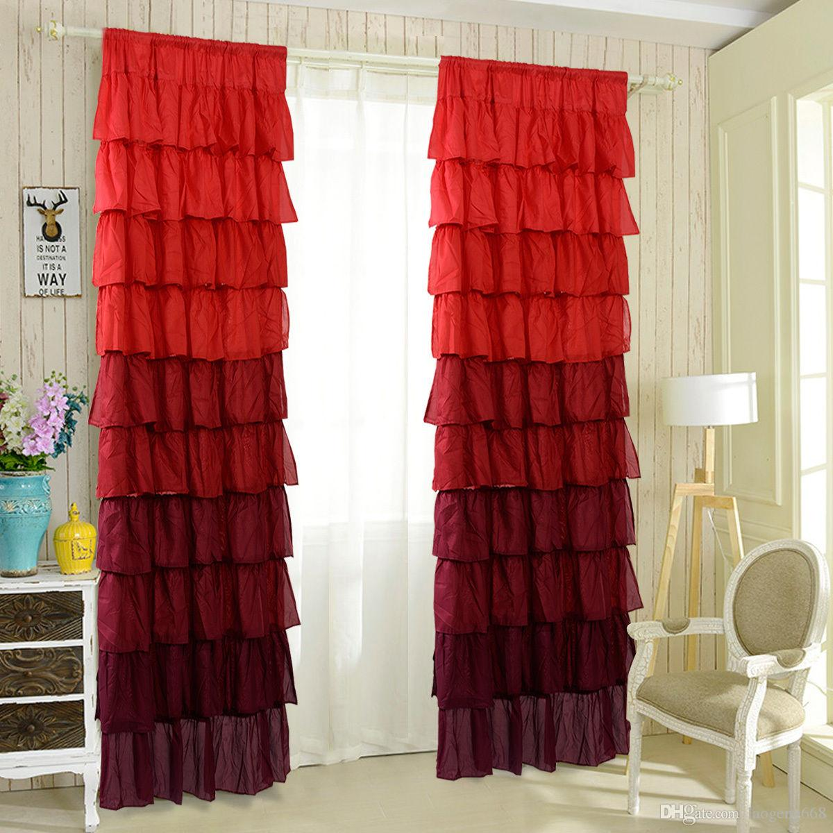54x84 Ruffle Sheer Curtain Panels Drapes Valances Top Rod Pocket ...