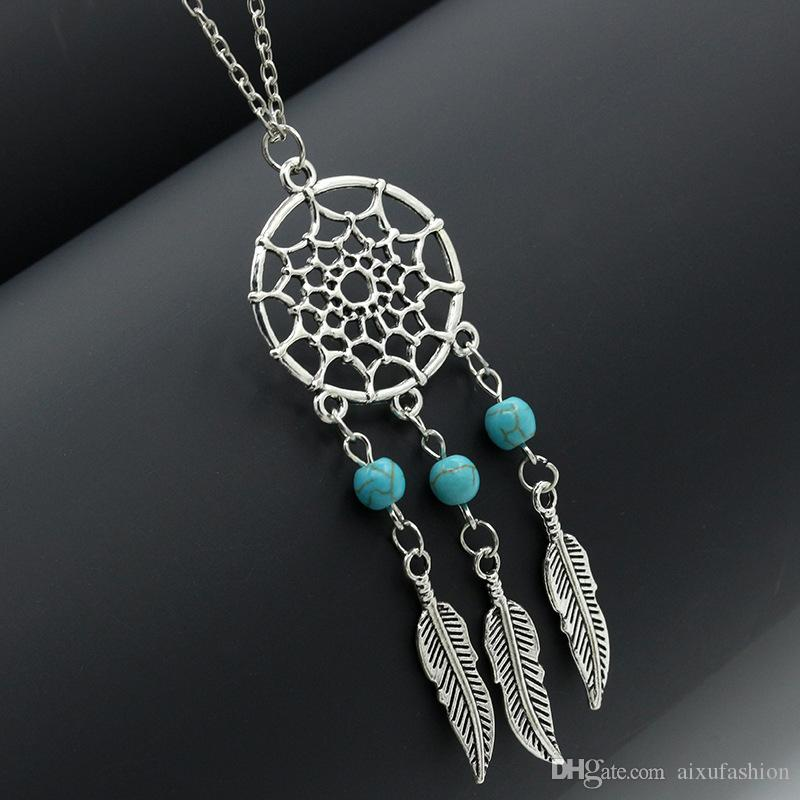 New Fashion Vintage Silver Tassel Feather Pendants Necklace For Women Choker Statement Necklace Bohemia Sweater Charm Jewelry