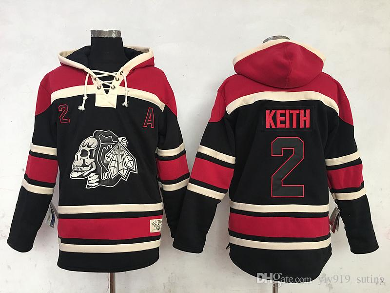 c3e0d6f8fbe Chicago Blackhawks Mens Sweaters 2 Duncan Keith Black Ice Hockey Hoodies  Jersey Stitched ...