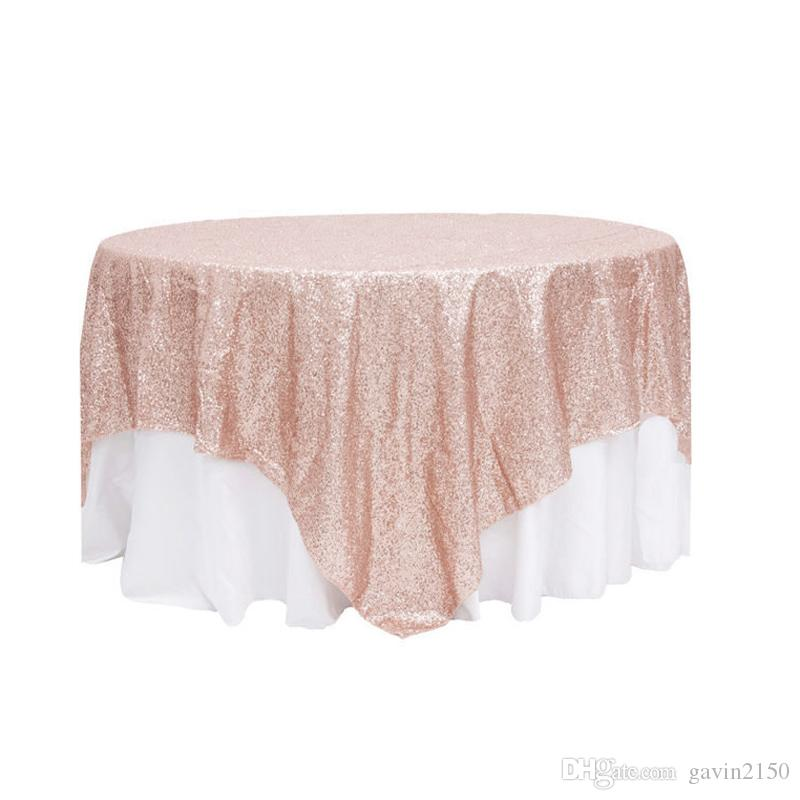 Hot Selling Square 90*132inch Champagne Sequin TableCloth Wedding Decoration Sequin Table Overlay For Party Banquet Home