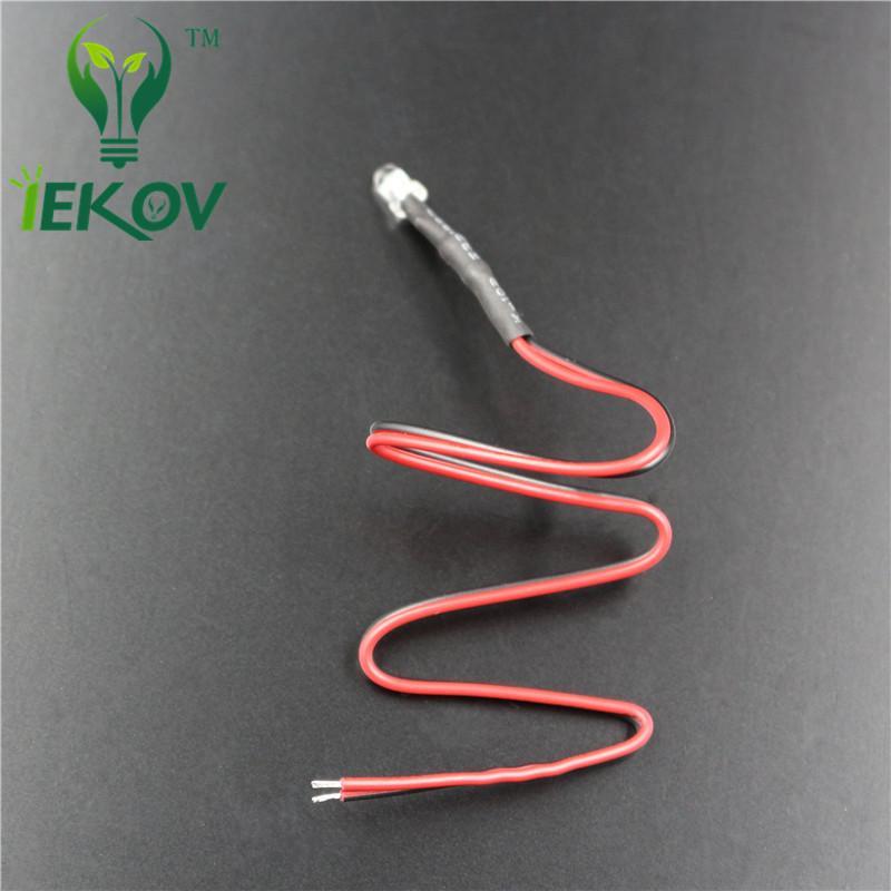 100 unids 3MM Resistor Cableado Verde LED Diodo Emisor Brillante Redondo Superior 12V DC 20CM Pre Diodos Cableados Led Luz de la lámpara Para el coche DIY