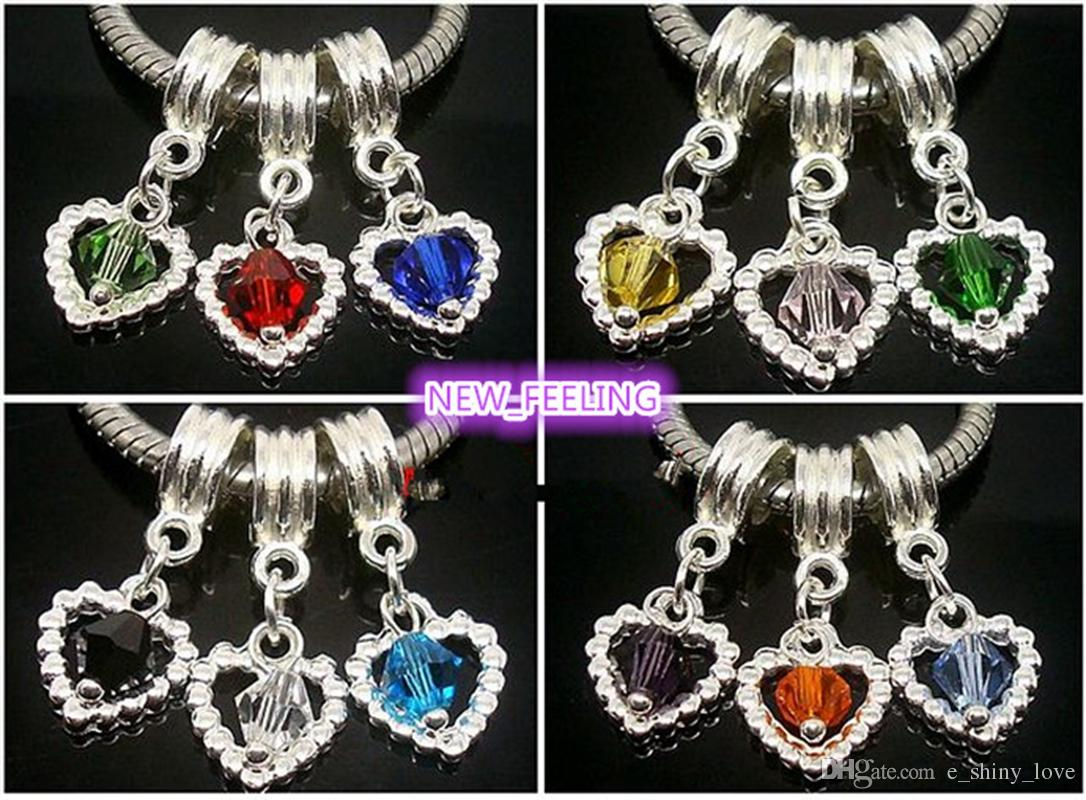 Mixed Beautiful Heart Crystal Silver Plated Dangle Pendants Fit European  Bracelets   Necklace Hole Size 5mm Big Hole European Charms Charms for  Jewelry ... 2da65e3bebc1