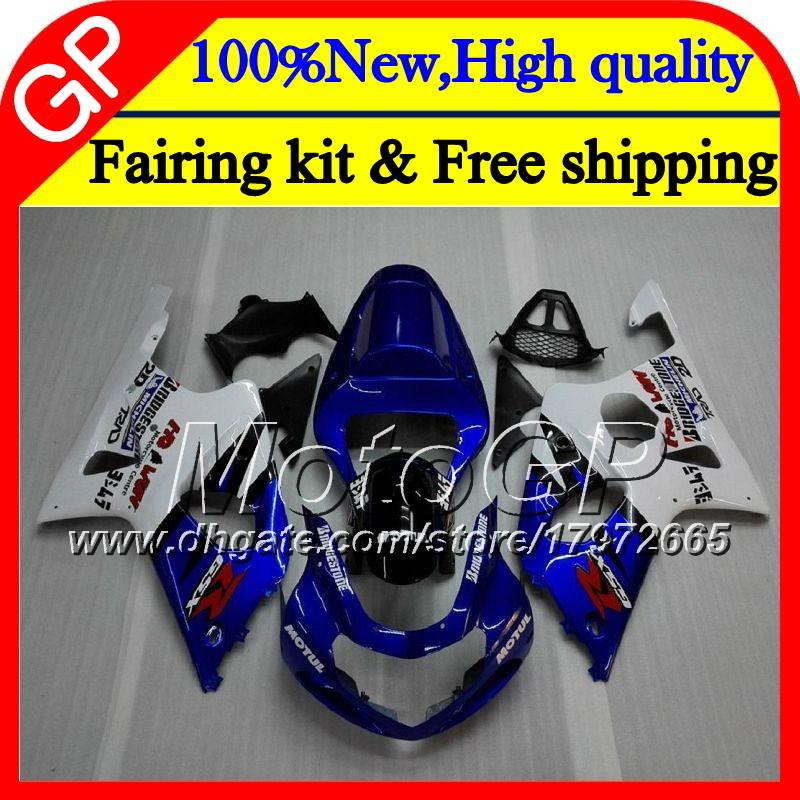 Corps pour SUZUKI GSXR 1000 CC K2 GSX-R1000 00 02 28GP10 GSXR1000 00 01 02 Bleu blanc GSXR-1000 GSX R1000 2000 2001 2002 Carénage