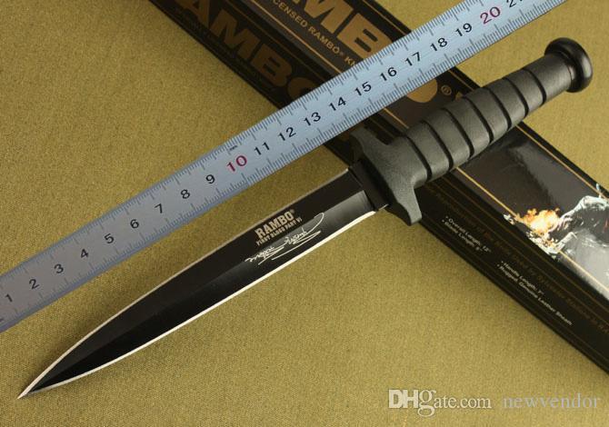 Rambo Double Action survival Gerade Messer Kampfmesser Jagdmesser Rambo Outdoor-Campingmesser mit Originalverpackung