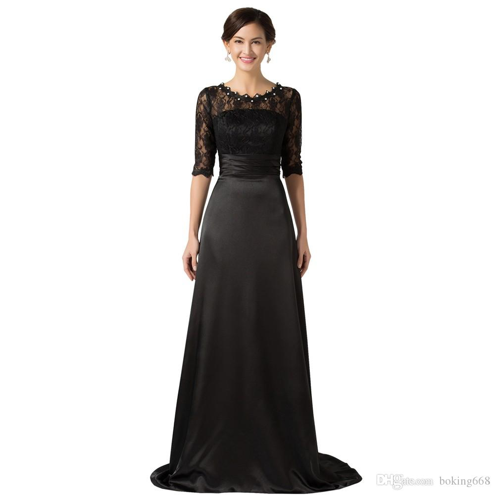 2020 más nuevo de la madre de la novia con las mangas del cordón de las novias vestidos de la madre de longitud de perlas Negro vestido de noche por encargo barato
