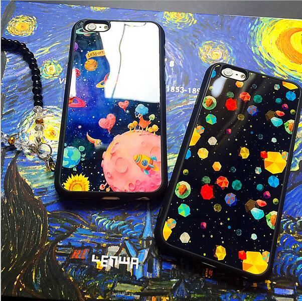 Cheap Price Fashion Starry Sky Cartoon Pattern Back Cover TPU Silicone Cell Phone Cases Acrylic Mobile Phone Cases for Iphone6 6plus