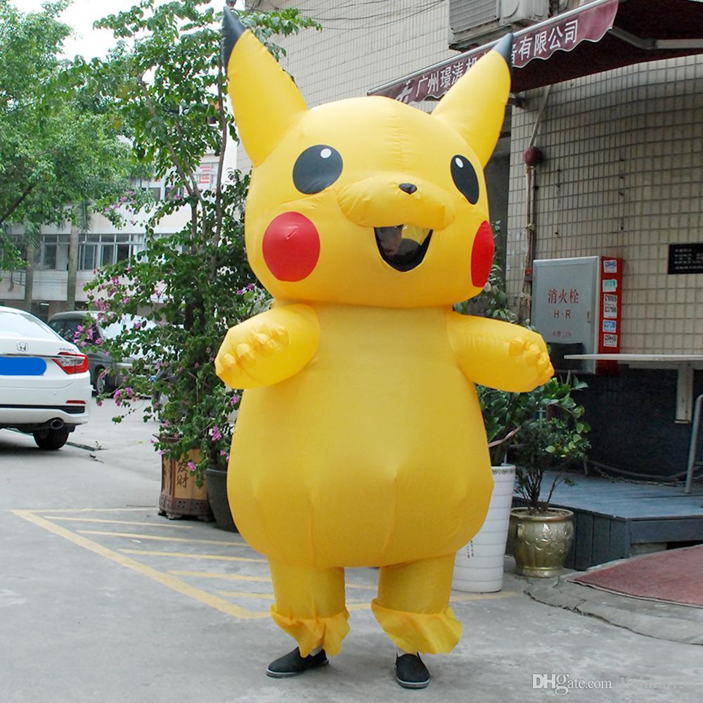 2017 new yellow inflatable pikachu christmas costume blowup dinosaur