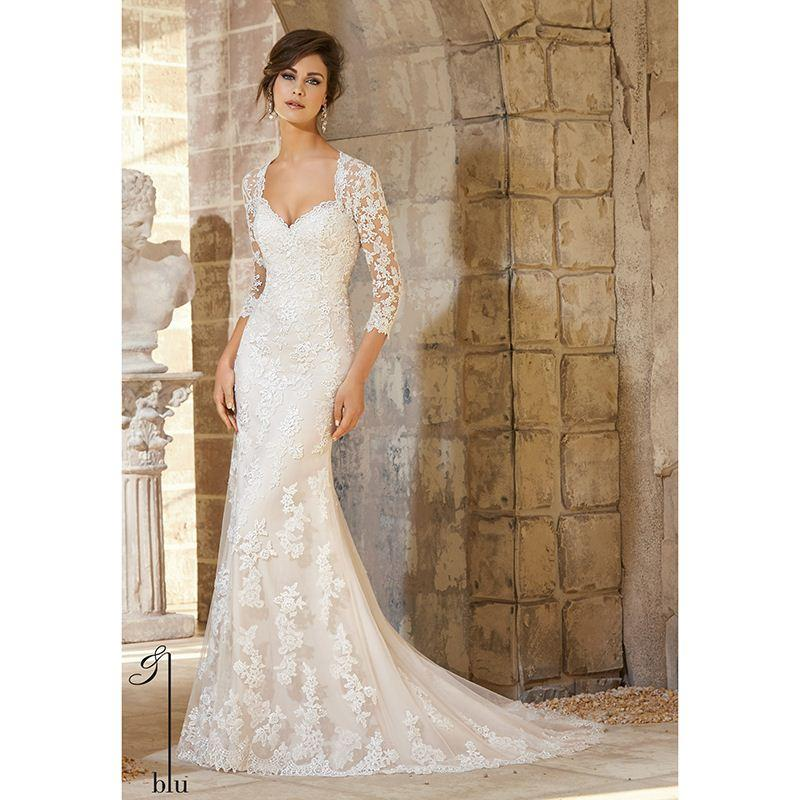 2016 Vintage Ivory Lace Wedding Dresses With Sleeves Appliqued Lace ...