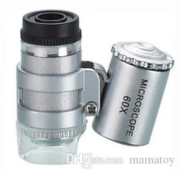 60x poche mini microscope de poche loupe bijoutier loupe avec LED lumière meilleurs cadeaux de Noël jouets pour enfants