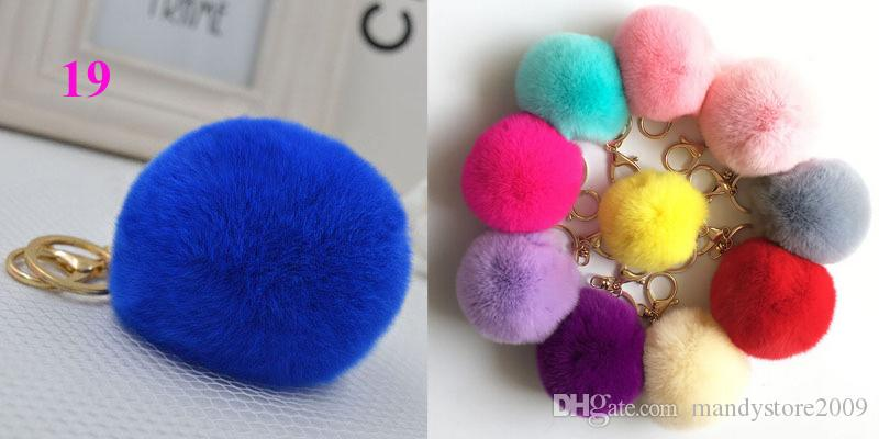 Fashio Rabbit Fur Balls PomPom Cell Phone Car Keychain Pendant Handbag Charm Key Ring plush key chain Bag Pendant keychain 8cm Bag Accessory