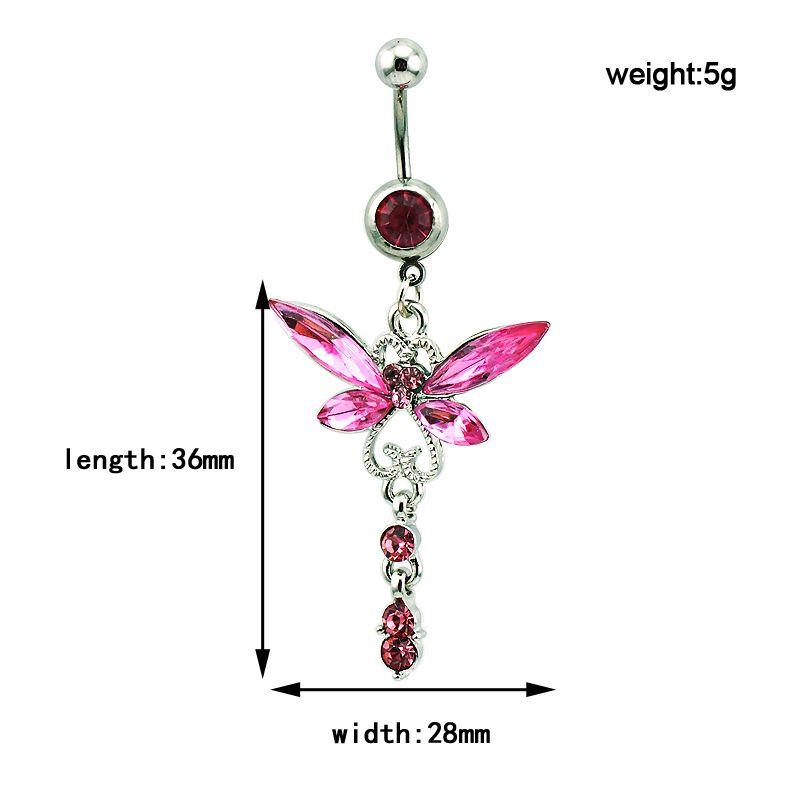 Mode Belly Anneaux En Acier Inoxydable 316L Barbells Dangle Rose Dragonfly Anneaux Navel Hypoallergénique Corps Piercing Bijoux