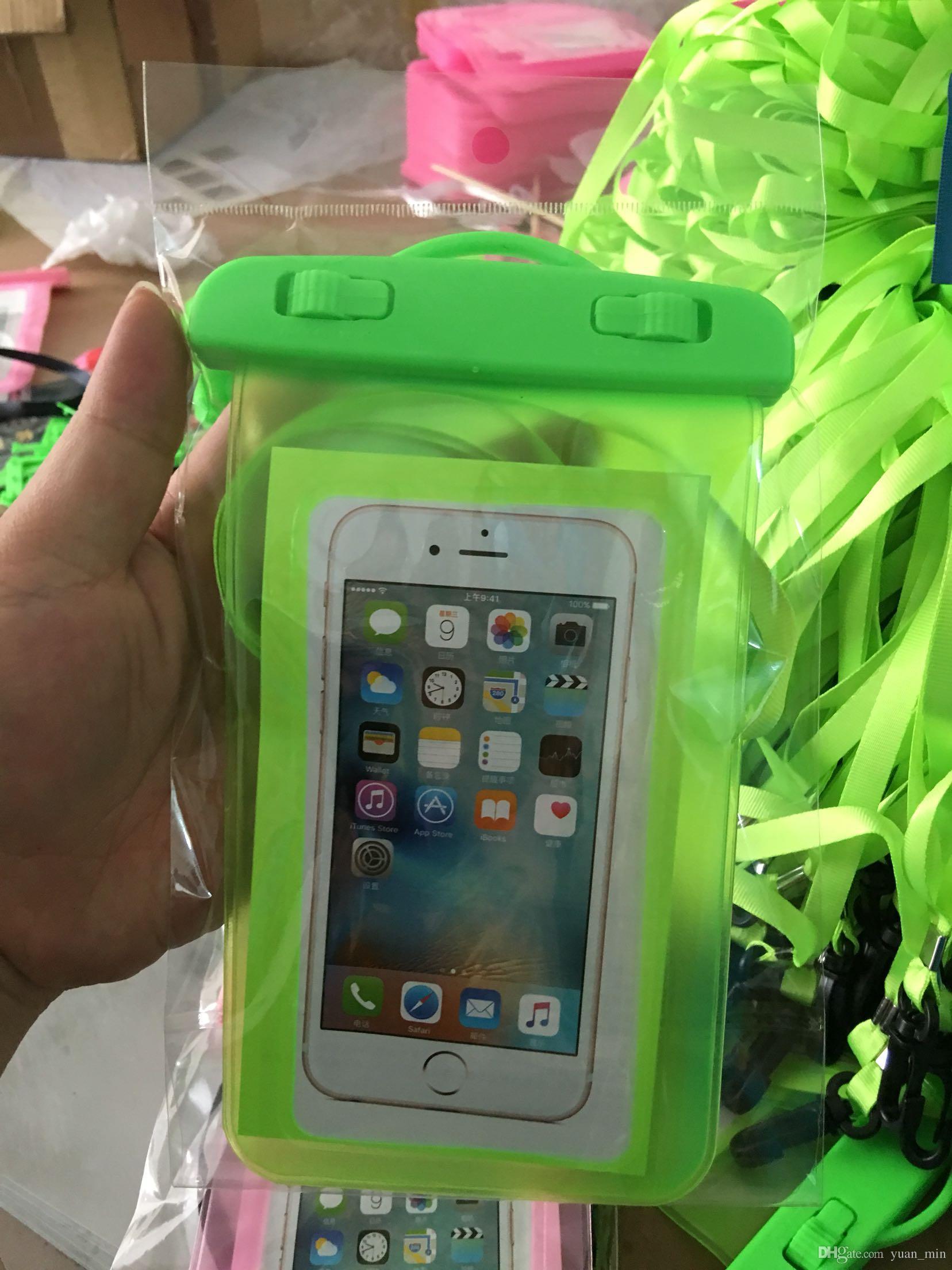 Saco à prova d 'água case bolsa para iphone 6 s plus samsung s7 edge celular à prova de água telefone celular sacos subaquáticos sacos secos com colhedor