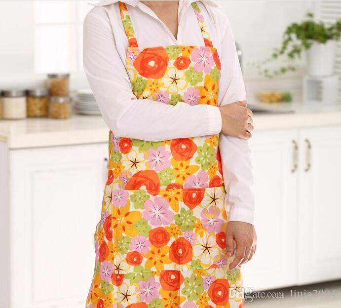 New Cute Printed Flower Kitchen Aprons Waterproof Adult Women Cooking  Aprons Womenu0027S Bib Comfy Cooking Chef Aprons Random Color Blue Appron Black  Aprons ...
