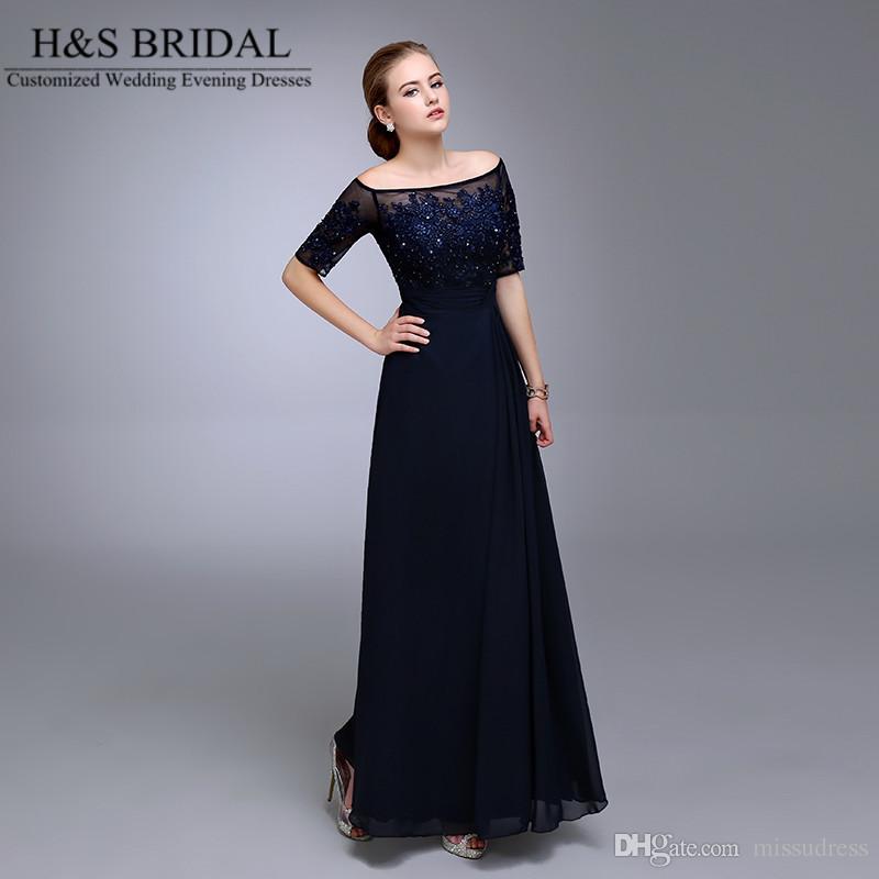 실제 그림 해군 블루 이브닝 드레스 2016 하프 슬리브 주름 장식 쉬폰 신부의 공식 어머니 신랑 Dresse Appliqued Lace Formial Gowns