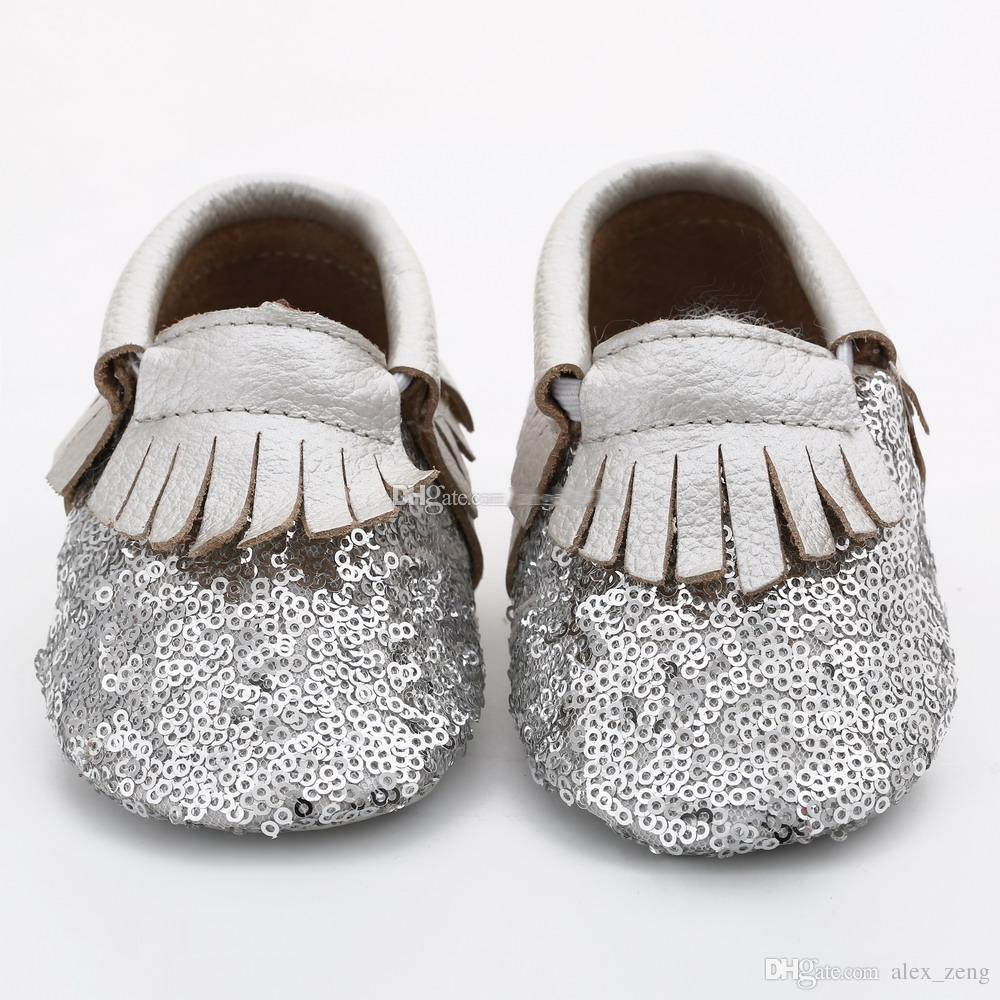 2016 Nova Multy Cor infantil Primeiro Walker Sapatos de bebê borlas lantejoulas antiderrapante fundo Macio Sapatos de Couro Genuíno livre DHL