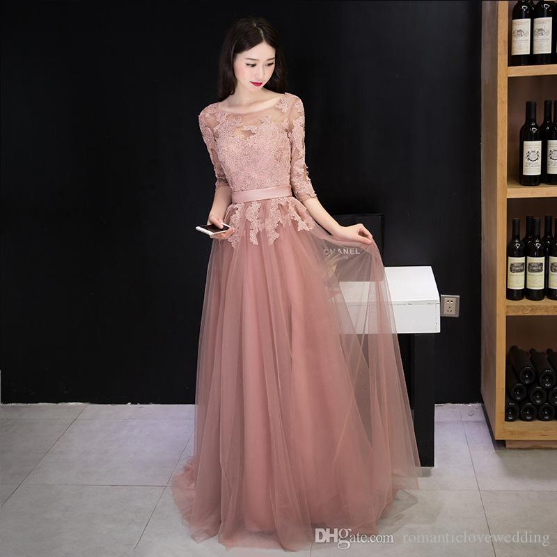 Cheap Coral Pink Long Chiffon Evening Dresses Long With