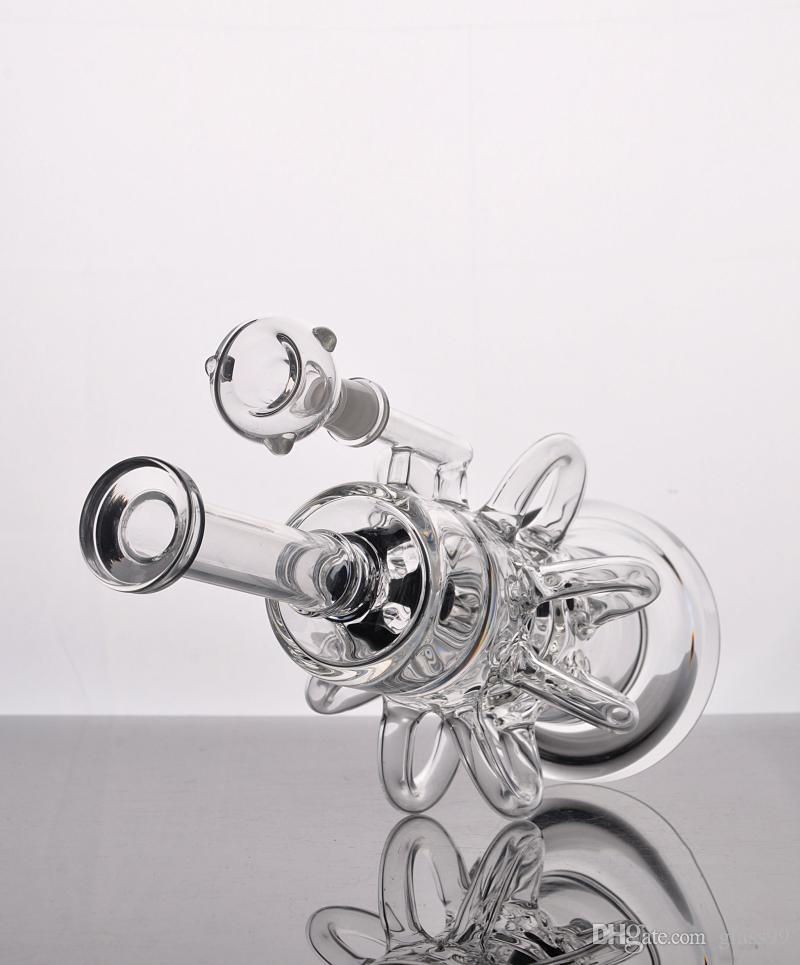 Thick glass water pipe Cyclone bongs intricate 8 arms double Recycler glass bongs helix perc bong oil rig