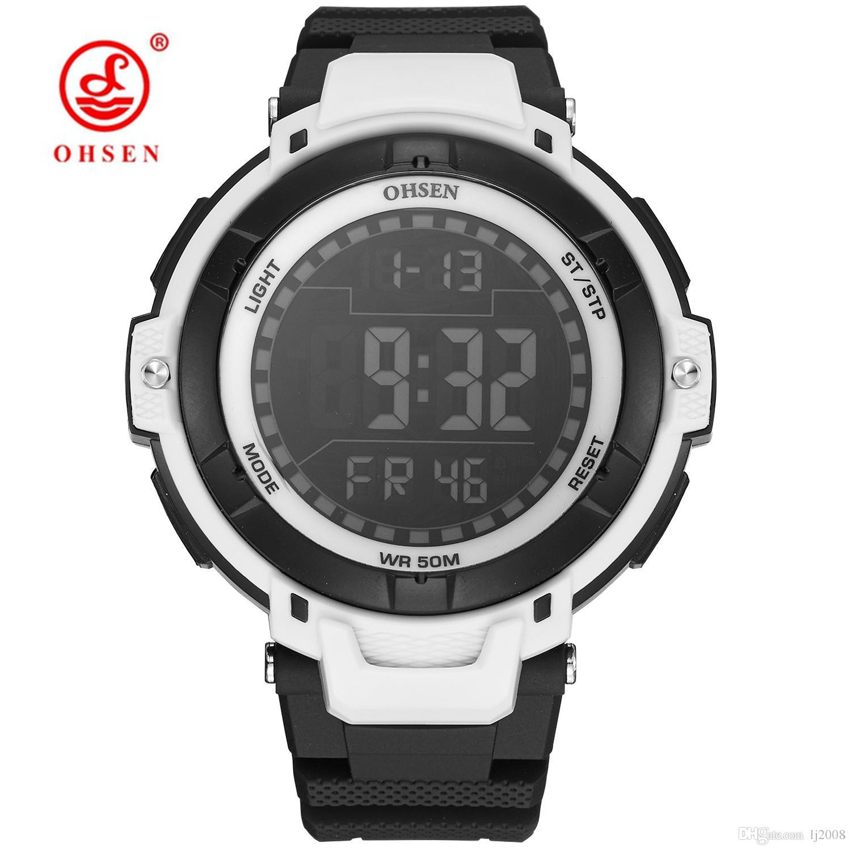 b2c1b9ac760 Fashion Brand OHSEN Digital Watch Men Relogios Alarm Stopwatch Swim Sport  Watch Men Rubber Band LED Date Day Display Wrsitwatch Sport Watch Online  with ...