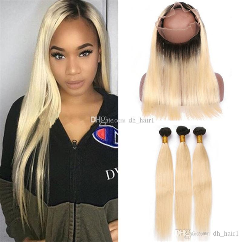 Best Dark Roots Blonde 360 Lace Frontal Closure With Hair Bundles