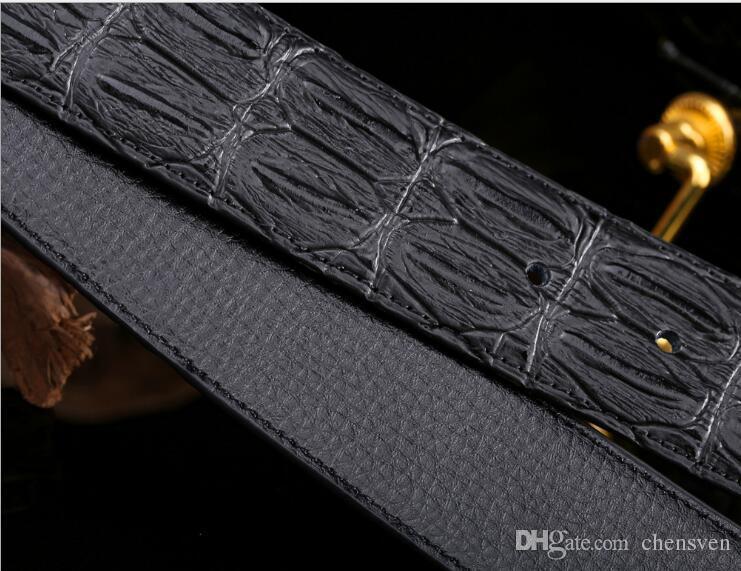 Nova Liga de Alta-grade agio cinto de couro dos homens escorpião liga agio cinto de couro de grão de crocodilo cinto de fivela Lisa
