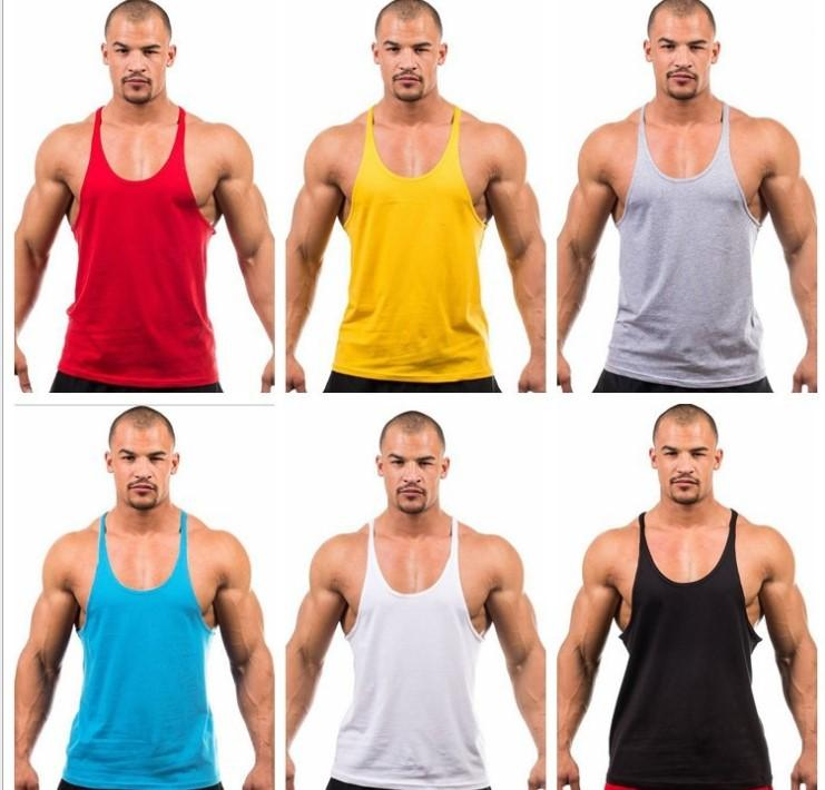 f34e542123a705 2019 HOT Mens Stringer Bodybuilding Tank Top Solid Gym Cotton Singlet Tanks  Fitness Clothes Y Back Tanks Wholesale From Fashionsclub