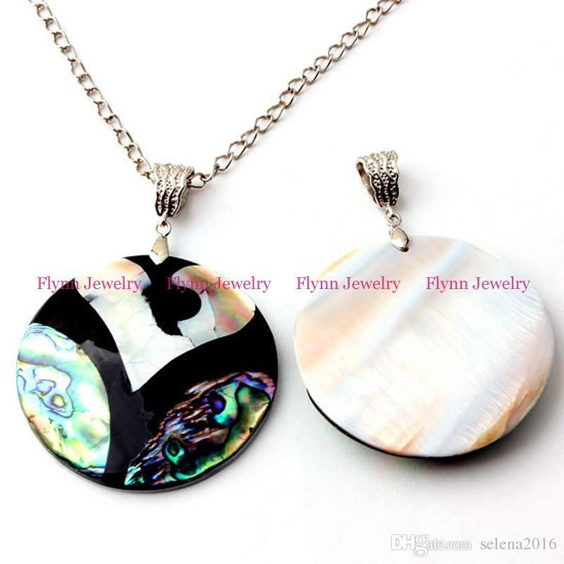 Venta al por mayor de China de la variedad del encanto del diseño redondo de abulón Natural Shell Splicing accesorios colgantes de plata plateó la joyería de moda europea