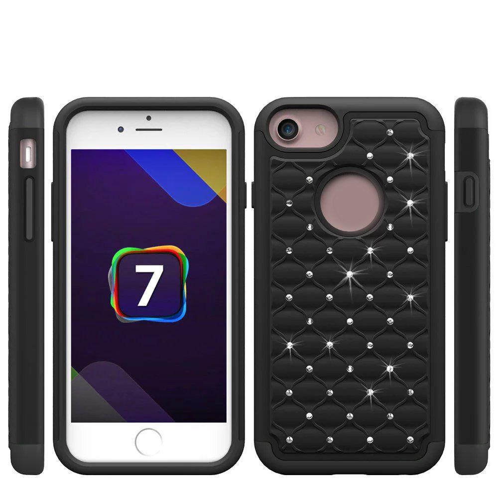 Caja rugosa cuadrada híbrida para Iphone 7 7g 4.7 Iphone7 Plus 5.5 Bling Diamond Plastic Starrry Cuadrada rígida PC + Anillo de silicona suave Skin