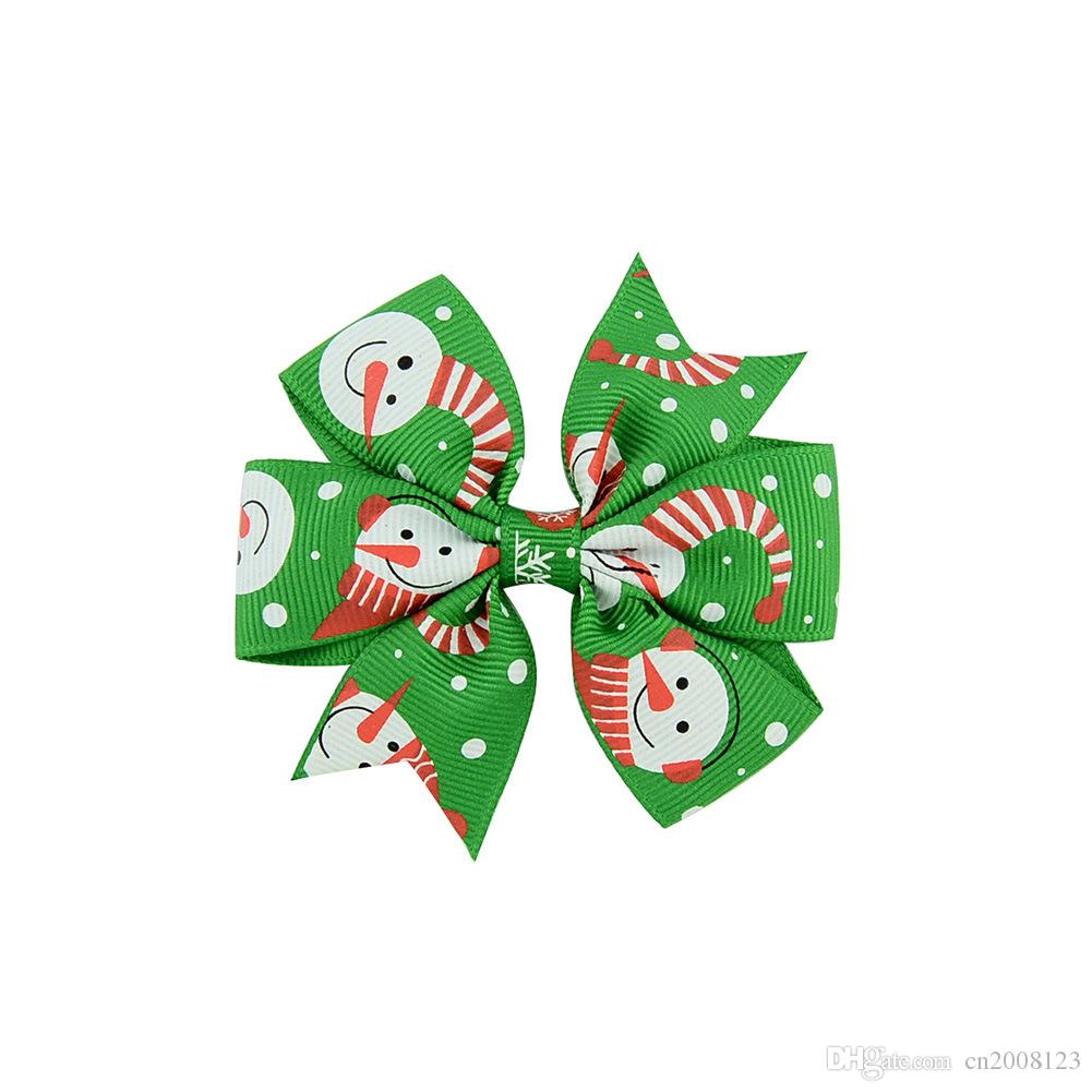 3 inch Hot Sale Christmas Snow Flake Santa Claus Grosgrain Ribbon Bows WITH Clip gingerbread Snowman Baby Girls Hair Clips Accessories BK417