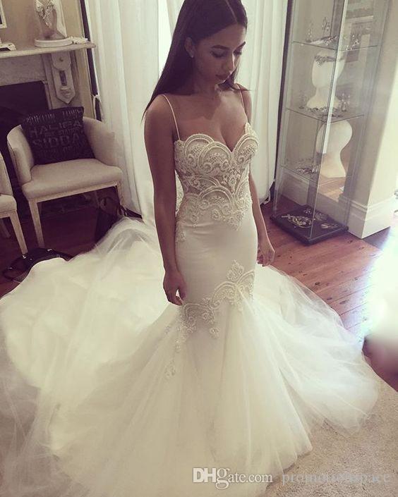 Sexy Meerjungfrau Brautkleider 2016 Weiß Tüll Perlen Spitze Perlen Frauen Trompete Hochzeitskleid Brautkleider