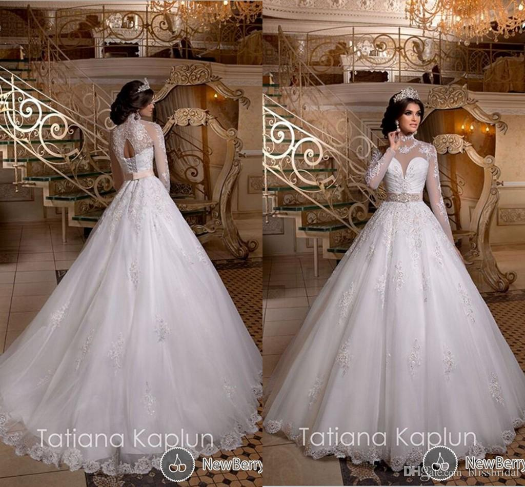 Long Sleeve High Neck Wedding Dress