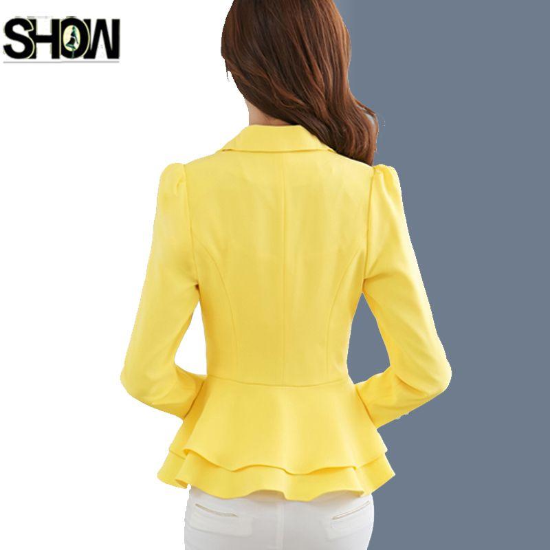 One Button Blazers 2017 Business Formal Suits Work Coat Elegant Ruffle Blue Yellow White Black Jacket Office Peplum Blazer 7009