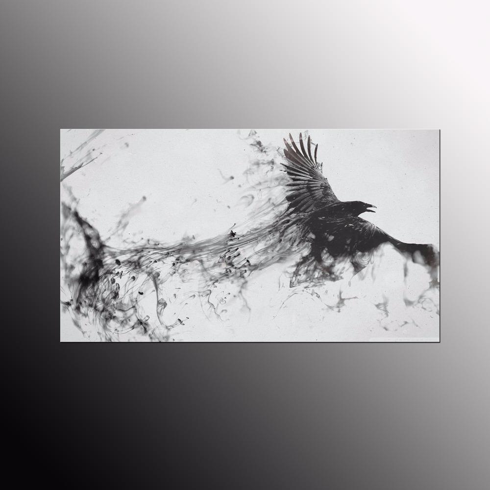 Unframed modern modular pictures of abstract bird white and black canvas painting custom canvas prints art for living room unframed modern modular pictures
